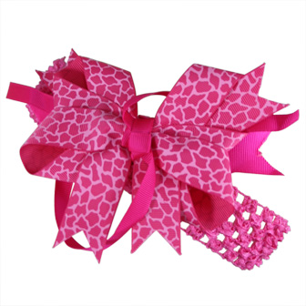 Feral Princess Large Leopard/Pastel Pink Boutique Bow (3 in One Uses) Hot Pink