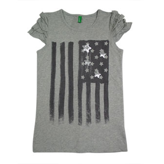 Benetton Girls Stars & Stripe Sequinned Ruffled Short Sleeve Tee - Grey