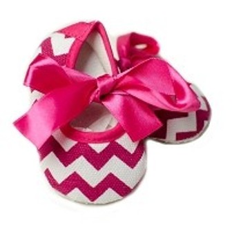 Feral Princess Chevron/Hot Pink Trim Mary Jane - White