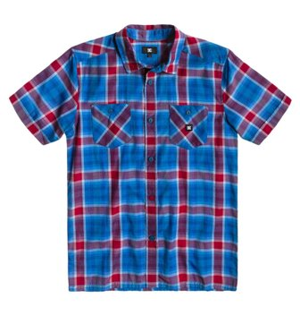 DC Youth Rock Air Red Plaid Button Down Short Sleeve Shirt  - Blue