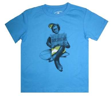 Quiksilver Junior Boys Chimp Surfs Jaws Print Surf Tee - Blue