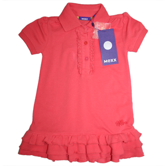 MEXX UK Infant/Toddler Girls Ruffled Polo Dress - Coral Orange