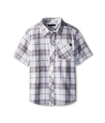 O'Neill Boys Archie Youth Grey Plaid Check Short Sleeve Shirt - White