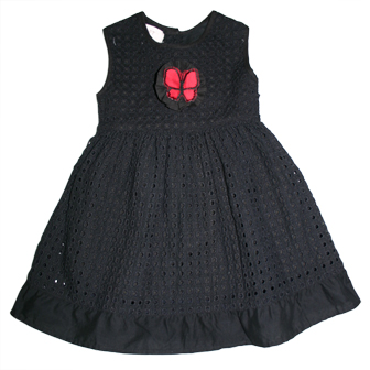 Loft Anne Taylor Girls Broderei Anglaise Dress  - Black