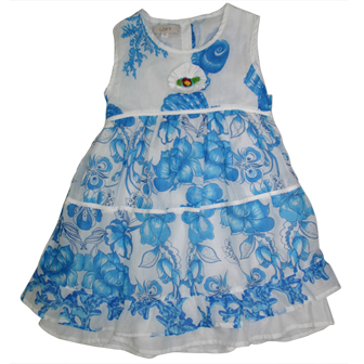 Loft Anne Taylor Girls Ocean Floral Turquoise Blue Print  Dress  - White