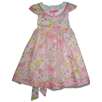 Fashion Kids Vintage Lapel Collared Dress  - Pink