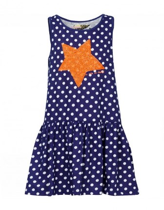 Desigual Girls Polka Dot Sequin Dress   - Navy