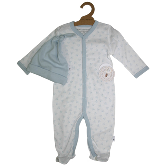 Burt's Bees Infant Organic Cotton Long Sleeve Blue Trim Bee Print Onesie/Hat 2-pc Set - White