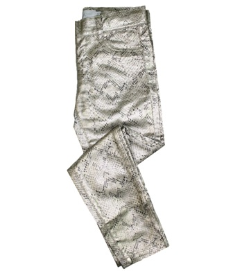 Epk Designer Junior/Youth Girls Metallic Snake Print Slim Jegging  -  Pewter