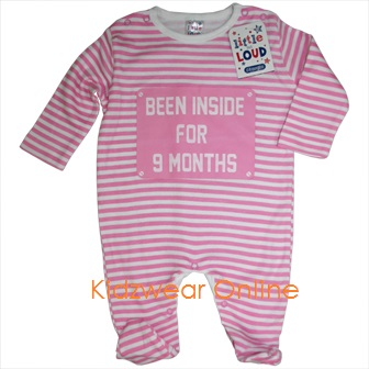 "Little But Loud Infant ""Been inside for 9 Months"" Sleep Romper - White/Pink"