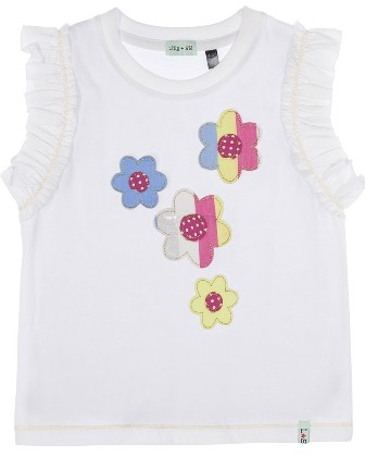 Lilly & Sid Designer Girls Floral Appliqued Tee - White