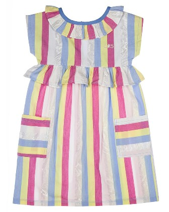 Lilly & Sid Designer Girls Striped Fondant Dress