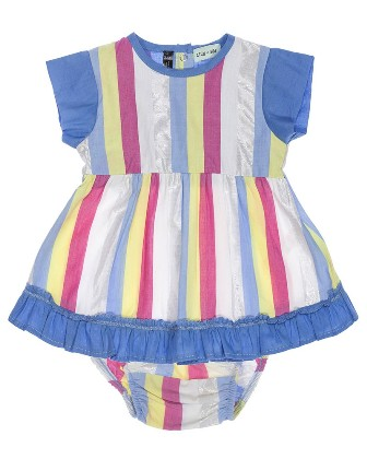 Lilly & Sid Designer Girls Infant/Toddler Striped Dress Set