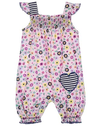 Lilly & Sid Designer Girls Infant/Toddler Floral Romper   - Pink