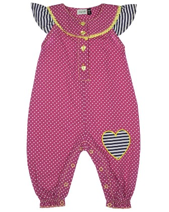 Lilly & Sid Designer Girls Infant/Toddler Spotty Dotty Romper   - Pink