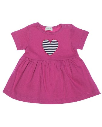 Lilly & Sid Designer Girls Infant/Toddler Heart Appliqued Jersey Dress   - Cerise
