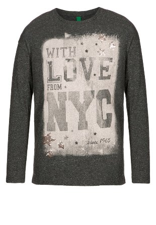 Benetton Girls Love From NYC Junior/Youth Long Sleeve Top - Grey