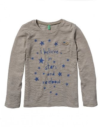 "Benetton Girls Junior/Youth  ""I Believe In Rainbow & Stars"" Long Sleeve Top - Khaki"
