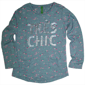"Benetton Girls Junior ""Tres Chic"" Floral Long Sleeve Top - Duck Egg Blue"
