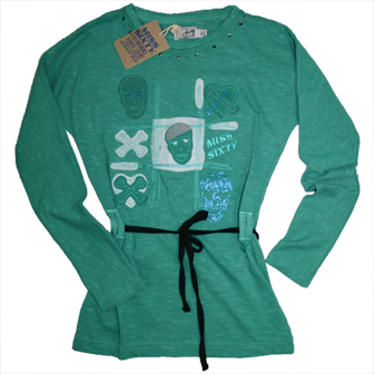 Miss Sixty Girls Junior/Youth Embellished Long Sleeve Top - Green