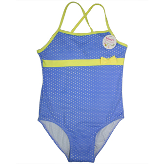 Dohil Brazil Girls Junior Polka Dot One Piece  - Cornflower Blue/Yellow