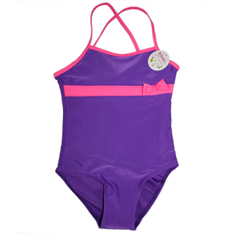 Dohil Brazil Girls Junior One Piece  - Purple/Hot Pink
