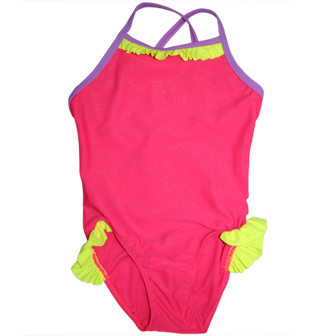 S&L Junior Girls One Piece Ruffled Swimsuit - Hot Pink/Yellow/Mauve