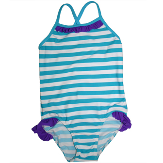 S&L Junior Girls One Piece Striped Ruffled Swimsuit - Blue/White/Purple