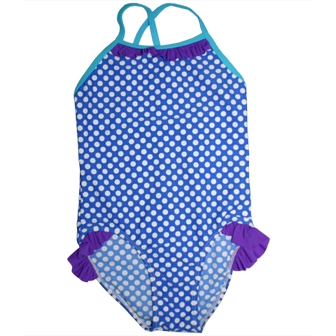 S&L Junior Girls One Piece Polka Dot Ruffled Swimsuit - Blue/White/Purple/Aqua