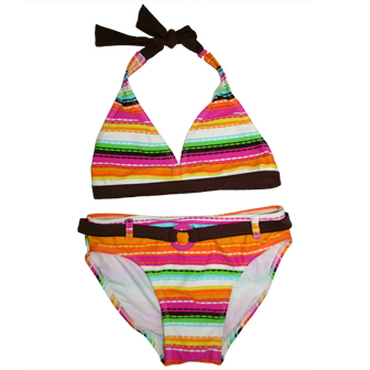Xhilaration USA Junior Girls Two Piece Halter Bikini Striped Swimsuit - Mocha/Orange