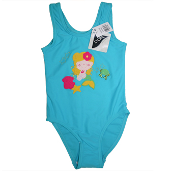 Primark UK Junior Girls One Piece Appliqued Mermaid Swimsuit - Aqua