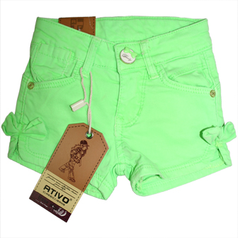 Ativo Designer Infant Girls Candy Coloured Shorts - Green