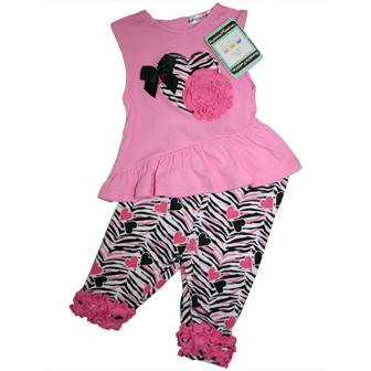 Rumble Tumble Designer Infant/Toddler Girls 2-pc Zebra Set  -  Pink/Black