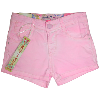 Under 18 Designer Junior/Youth Girls Enzyme Washed Candy Shorts - Pink