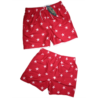 Rebel UK Boys Junior/Youth Star Print Board Shorts - Red/White