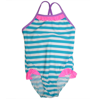 S&L Junior Girls One Piece Striped Ruffled Swimsuit - Blue/White/Hot Pink