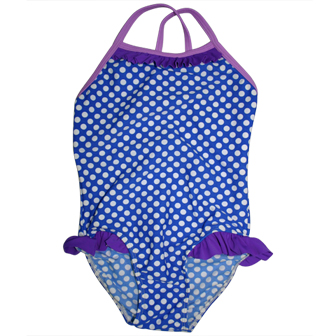S&L Junior Girls One Piece Polka Dot Ruffled Swimsuit - Blue/White/Purple