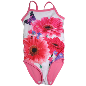 Junior Girls One Piece Floral Swimsuit - White/Pink