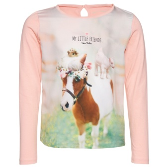 Tom Tailor Junior/Youth Girls Photo Print My Little Friends L/S Top - Pink