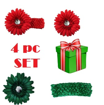 Feral Princess 4 Pc Set Headband/Hair Clip Daisy Flower - Red/Green