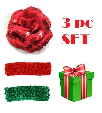 Feral Princess 3 Pc Set Headband/Sequin Poppy - Red/Green