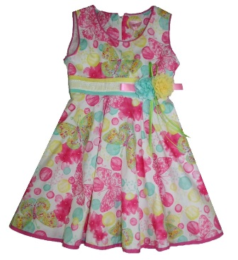 Fashion Kids Butterfly Floral Party Dress - Multi