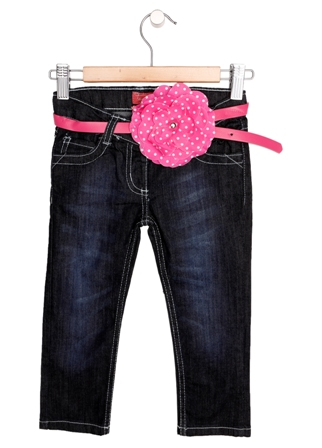 Funky Diva Girls Flower Belt Skinny Jeans - Dark Blue