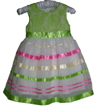 Inreer by Bonnybilly Girls Embroidered Party Dress - White//Green/Pink