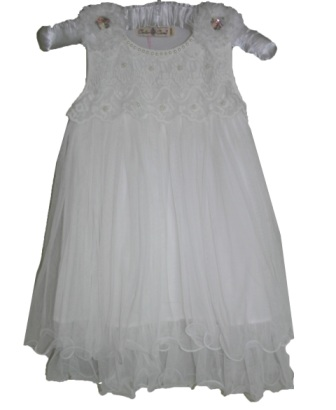 Color Creme Girls' Gatsby Vintage Lace & Pearl Party Dress - White