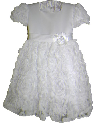 Feral Princess Infant/Junior Girls' Rosette Formal Occasion Flower Girl Dress - White