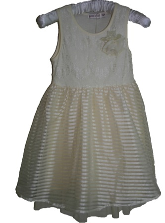 Girls' Eyelash Lace Party Dress - Champagne