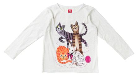 Havoc Denim Junior/Youth Girls Cat Print Long Sleeve - Cream