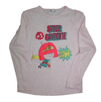 Dpam Europe Junior/Youth Girls Super Coqette  L/S Tee - Marle Pink
