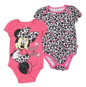 Disney Newborn Minnie Mouse Leopard Print 1-Pc Single Onesie - White/Pink